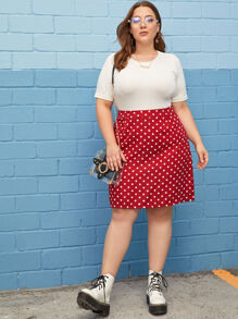 Plus Dot Print Skirt
