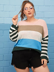 Plus Drop Shoulder Block Stripe Sweater
