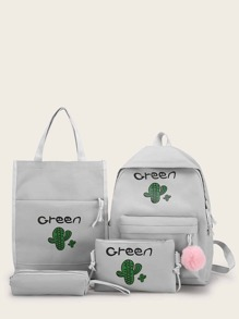 Cactus Print Pom Pom Decor Backpack With Pencil Case 4pcs