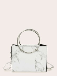 Marble Print Satchel Bag With Ring Handle
