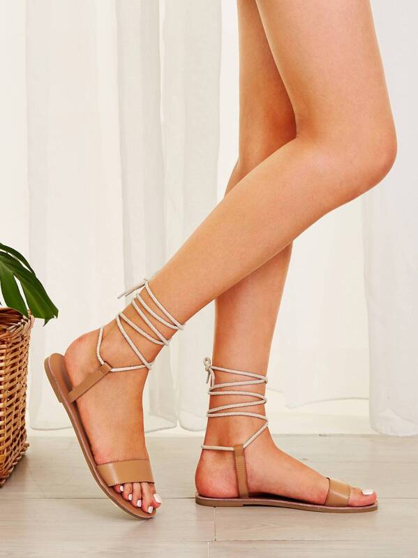 Open Leg Sandals Flat Toe Tie trdhoCsQxB