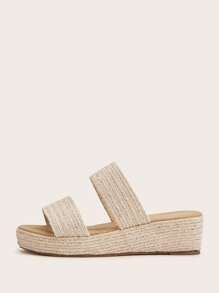 Double Woven Strap Wedged Sandals