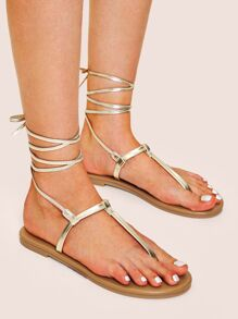 Metallic Toe Post Strappy Sandals