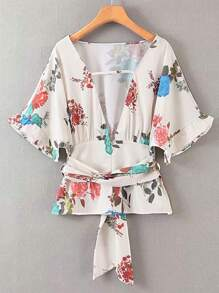 Floral Print Frill Cuff Belted Blouse