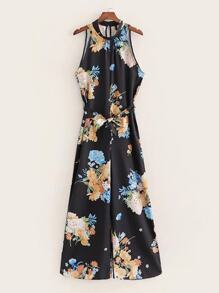 Large Floral Print Wide Leg Jumpsuit