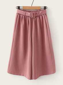 Vertical-Striped Wide Leg Belted Shorts