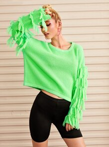 Neon Green Fringe Sleeve Sweater