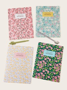 Floral Print Cover Notebook 1pc