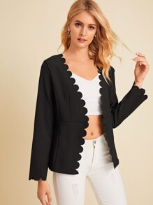 Solid Scallop Trim Blazer