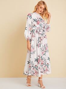 Floral Print Split Thigh Belted Dress