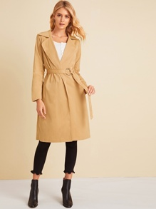 Solid Notched Neck Belted Trench Coat