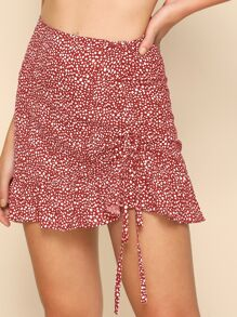 Dalmatian Print Drawstring Side Skirt