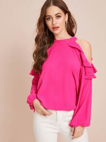 Solid Ruffle Trim Open Shoulder Blouse