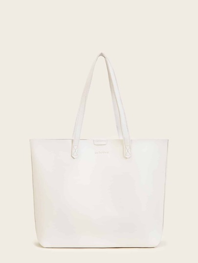 Solid PU Tote Bag With Inner Pouch