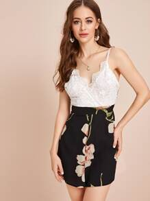 Large Floral Contrast Lace Tie Back Cami Playsuit