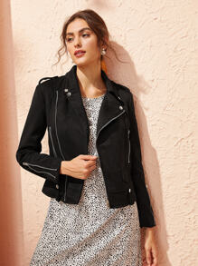 Zipper Decoration Solid Biker Jacket