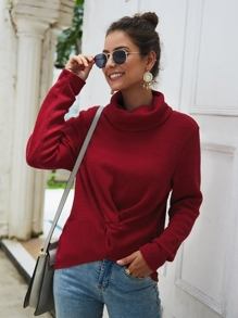High Neck Twist Front Sweater