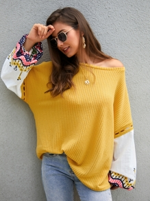 Contrast Embroidery Sleeve Oversized Sweater