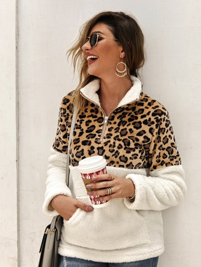 Flannel Contrast Leopard Quarter Zipper Teddy Sweatshirt