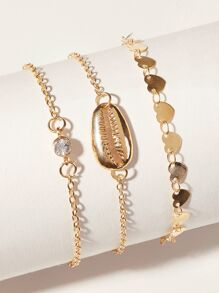 Shell & Disc Decor Chain Anklet 3pcs