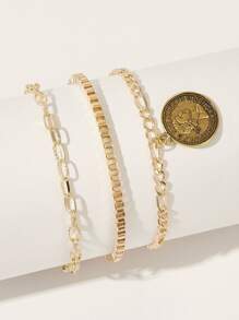 Coin Charm Chain Anklet 3pcs