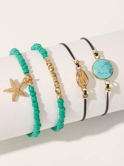 Starfish & Shell Decor Beaded Bracelet 4pcs