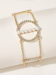 Faux Pearl Rhinestone Engraved Round Decor Chain Bracelet 1pc