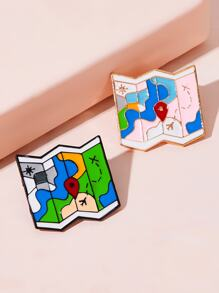 Map Pattern Screen Design Brooch 2pcs