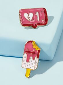 Ice Cream Design Brooch 2pcs