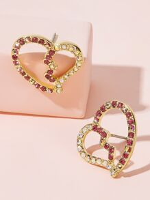 Two Tone Rhinestone Engraved Heart Earrings 1pair