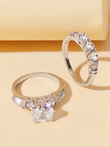 Rhinestone Engraved Ring 2pcs