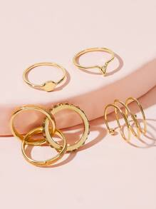 Link & Spiral Decor Ring 4pcs