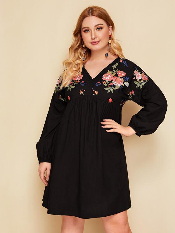 b508d9afd38ce Plus Floral Print Smock Dress