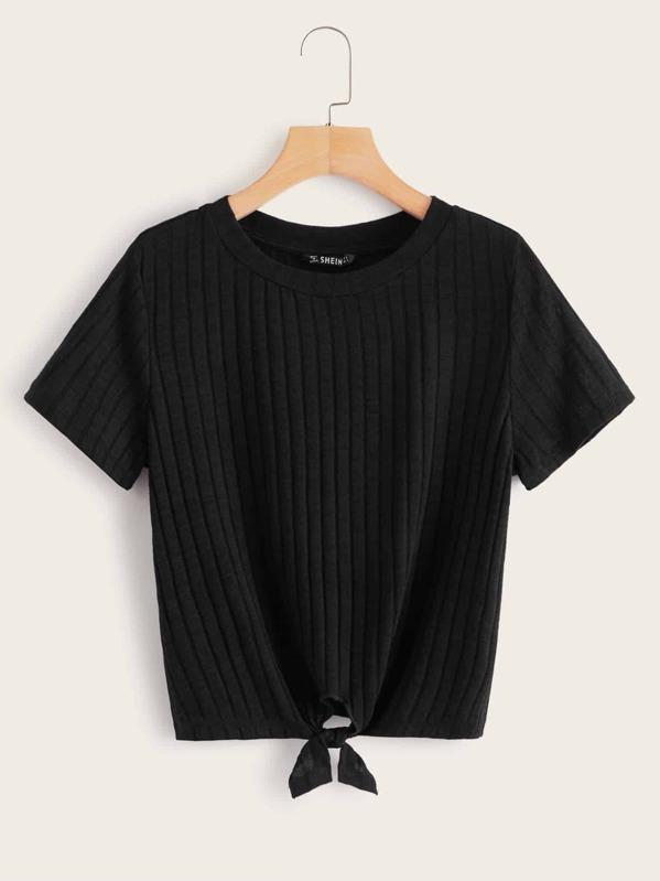 034377d985 Tie Hem Rib-knit Tee