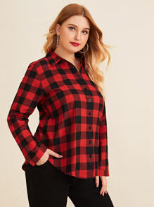 Plus Gingham Curved Hem Blouse