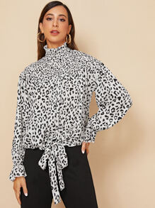 Leopard Shirred Knot Front High Neck Blouse