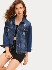 Ripped Button Front Denim Jacket