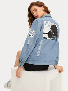 Letter Print Ripped Denim Jacket
