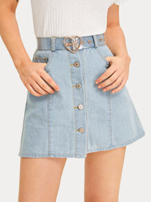 Button Front Pocket Side Denim Skirt