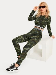 Camo & Letter Print Tape Crop Top With Pants
