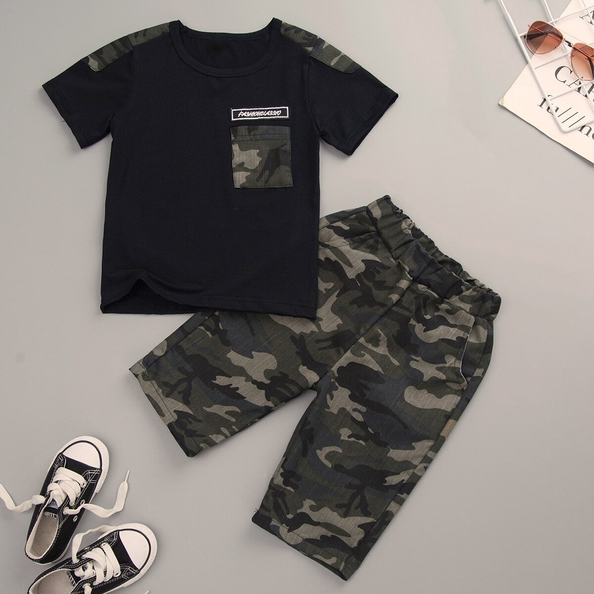 SHEIN coupon: Toddler Boys Contrast Camo Letter Patched Tee With Pants