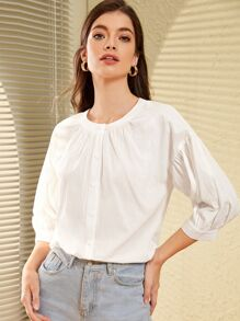 Bishop Sleeve Plicated Solid Blouse