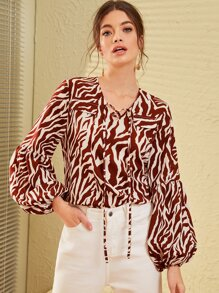 Tie Neck Zebra Stripe Bishop Sleeve Blouse