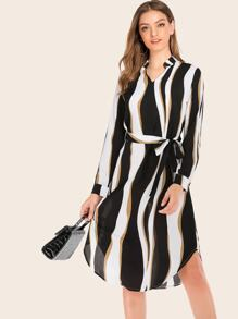 Notched Neck Wave Stripe Belted Shirt Dress