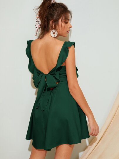 Tie Back Ruffle Trim Fit & Flare Dress