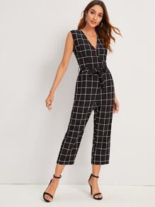 Self Tie Grid Plaid Tank Jumpsuit