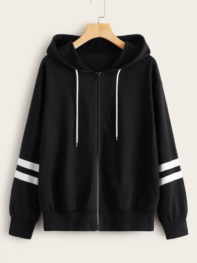 Zip-up Stripe Sleeve Drawstring Hoodie