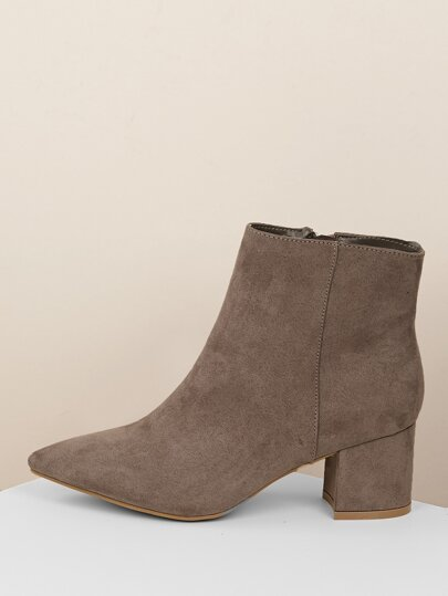 Pointy Toe Chunky Heel Ankle Boots