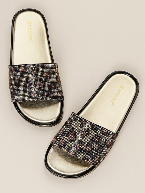 Rhinestone Sandals Wide Slide Leopard Band oCdWrxBe
