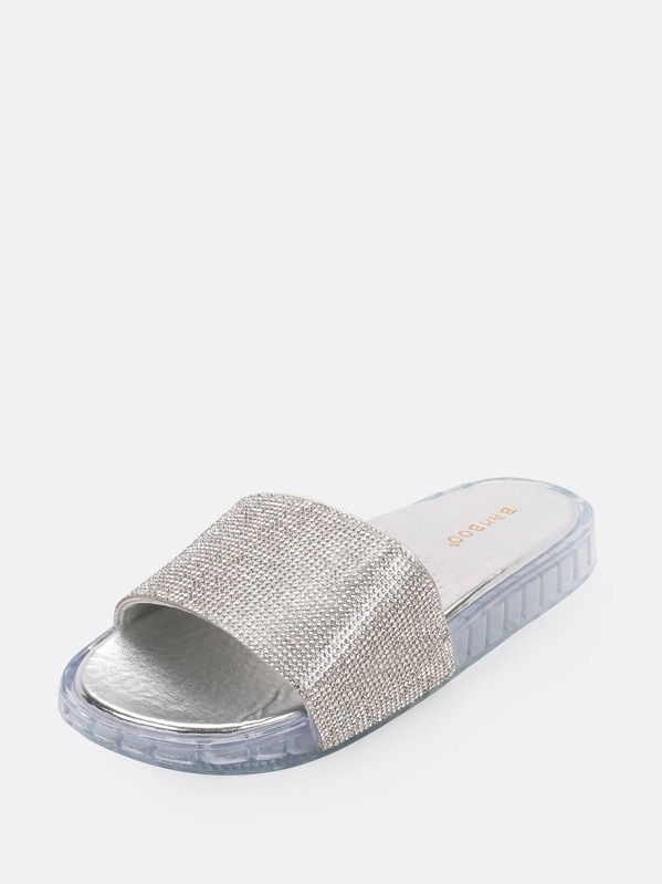 Band Diamante Sandals Toe Slide Open BroeCdx